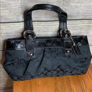 Coach handbag. Black Signature Canvas EUC